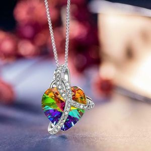 Jewelry - Swarovski Rainbow Aurora Borealis Heart Necklace